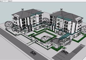 欧式风格详细的办公建筑楼设计SU(草图大师)模型