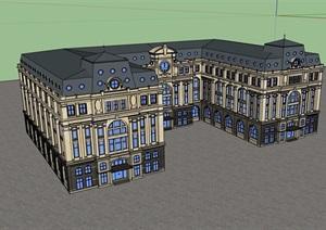 法式风格详细的多层酒店建筑设计SU(草图大师)模型