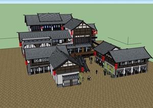 古典中式风格详细的商业多层建筑楼设计SU(草图大师)模型