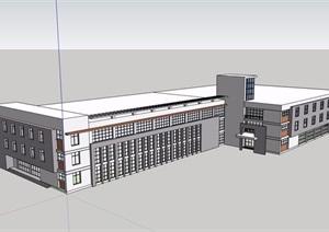 现代风格详细的三层办公建筑楼设计SU(草图大师)模型