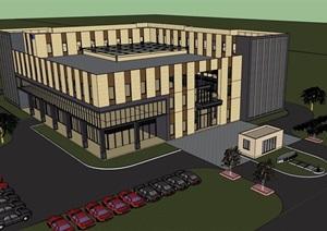 现代风格详细的经典多层完整办公楼设计SU(草图大师)模型