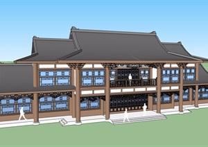 古典中式风格两层详细的完整商业建筑SU(草图大师)模型