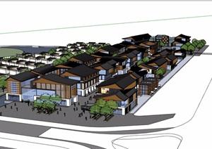 中式风格详细的商业中心完整建筑设计SU(草图大师)模型
