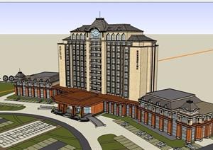 法式风格详细的经典多层星级酒店SU(草图大师)模型