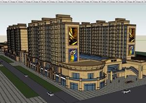 现代经典完整多层商业住宅建筑楼设计SU(草图大师)模型