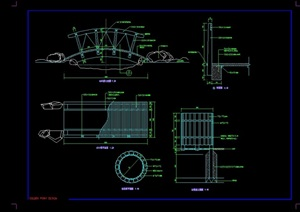 园林景观小桥素材设计cad施工图