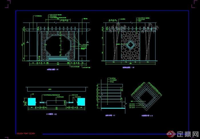 详细的完整中式景墙素材设计cad施工图