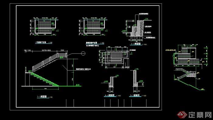 楼梯详细的完整设计cad施工图
