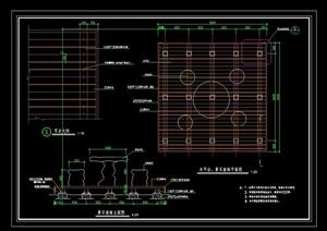 详细的木平台、桌椅组合设计cad施工图