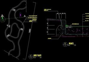 詳細的路緣石與路相道路設計cad施工圖