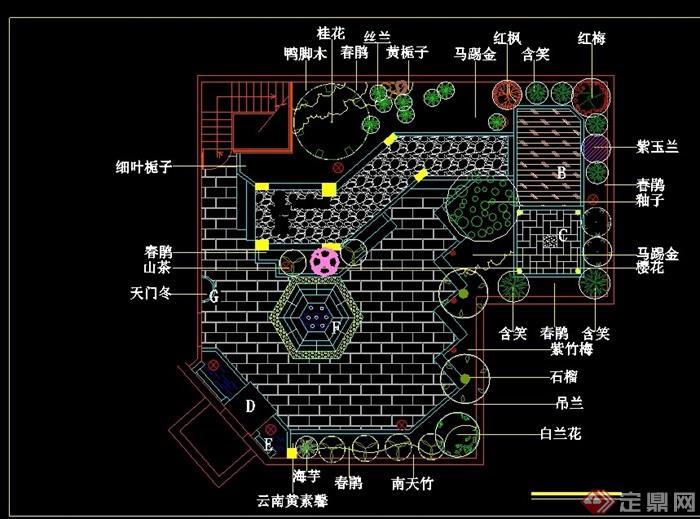 屋顶庭院园林景观工程cad施工图