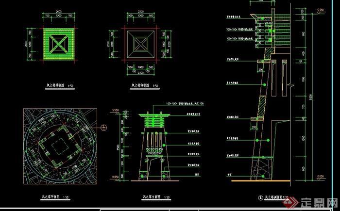 园林景观详细的塔小品素材设计cad施工图