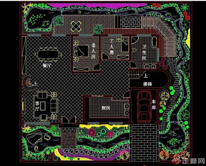 某详细别墅庭院环境设计cad平面图