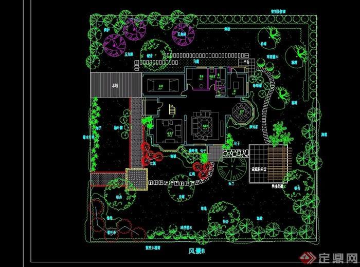 别墅私家花园设计cad方案图纸