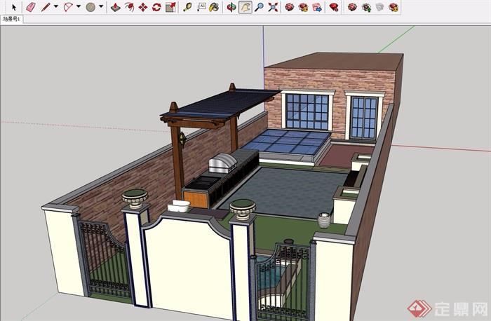 简洁欧式私家花园su模型