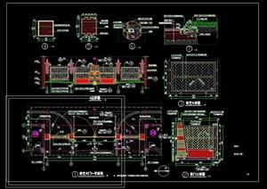 园林景观铁艺围墙大门设计cad施工图