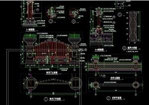 欧式园林景观大门设计cad施工图