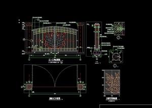 现代入口详细大门设计cad施工图