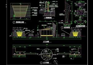 园林景墙大门设计cad施工图