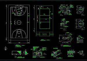 详细的完整篮球运动场地做法cad施工图
