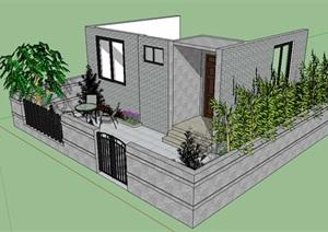 别墅前后花园景观设计SU(草图大师)模型
