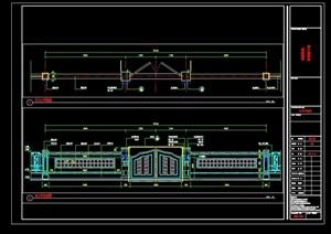 详细的完整围墙大门素材cad施工图