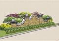 欧式风格详细的标志景墙详细设计su模型