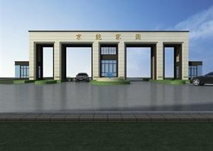 园林精细的大门设计3d模型