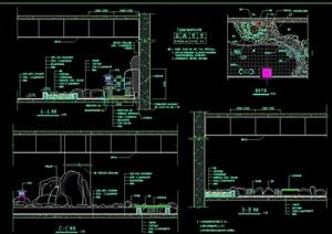 詳細的完整假山壁泉水池設計cad施工圖