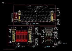详细的欧式风格围墙栏杆设计cad施工图