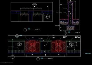 园林景观欧式铁艺围墙栏杆cad施工图