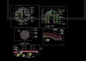 欧式风格详细的经典圆形亭子设计cad施工图