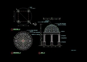 欧式风格详细的精致圆形亭子设计cad施工图天正打开