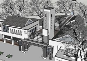 新中式乡镇旅游中心模型丰富详细,材质贴图清晰,具有很高的学习参考价值,值得下载
