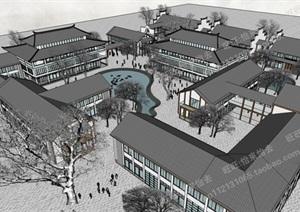 中式旅游商业建筑及规划设计模型丰富详细,材质贴图清晰,具有很高的学习参考价值,值得下载