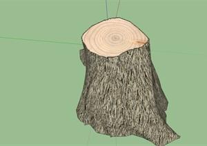 带年轮的树桩树墩sketchup模型