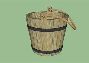 带绳柄的木水桶庭院花园装饰