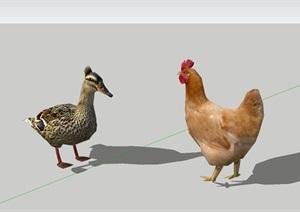 农庄小鸡小鸭sketchup模型