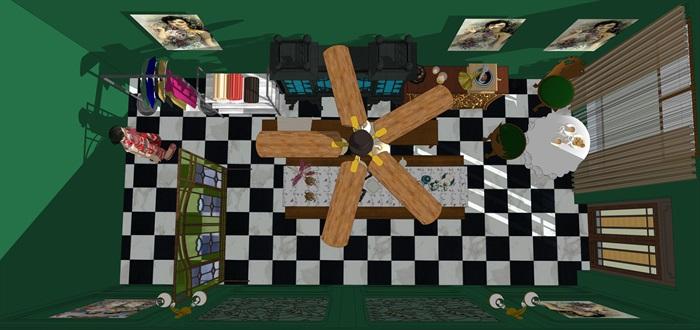 民國風格復古室內茶室su模型(1)