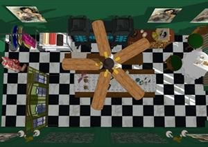 民國風格復古室內茶室SU(草圖大師)模型