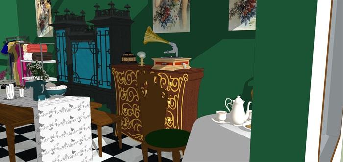 民國風格復古室內茶室su模型(2)