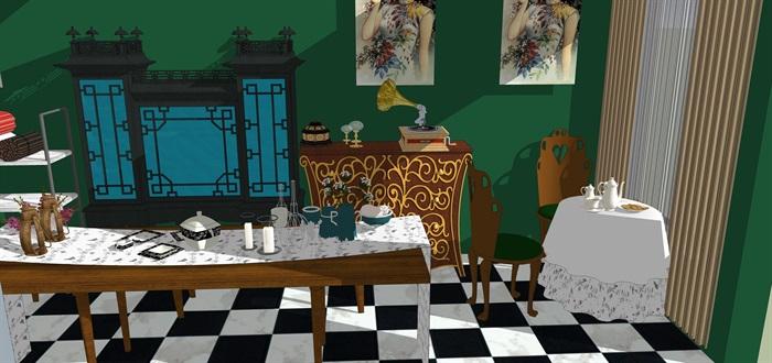 民國風格復古室內茶室su模型(3)