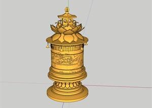 六般若柱佛教sketchup模型免费下载,结善缘…………
