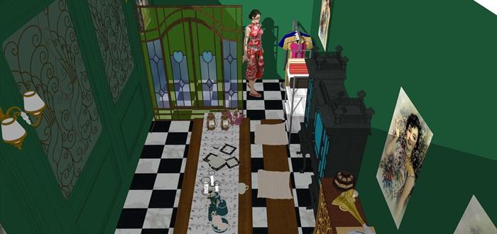 民國風格復古室內茶室su模型(6)