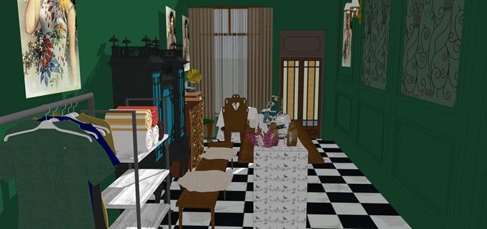 民國風格復古室內茶室su模型(9)