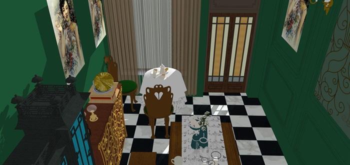 民國風格復古室內茶室su模型(10)