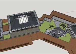 日式风格禅意茶室景观设计建筑设计sketchup模型