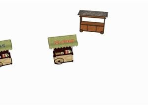 景区活动售卖小车店铺SU(草图大师)模型