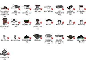 五十二个古建筑SU(草图大师)模型方案
