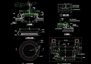 独特详细园林景观节点树池cad施工图